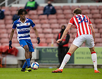 6th February 2021; Bet365 Stadium, Stoke, Staffordshire, England; English Football League Championship Football, Stoke City versus Reading; Ovie Ejaria of Reading looks to get the ball past Harry Souttar of Stoke City