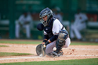 GCL Braves catcher Victor De Hoyos (2) fields a throw during the second game of a doubleheader against the GCL Yankees West on July 30, 2018 at Champion Stadium in Kissimmee, Florida.  GCL Braves defeated GCL Yankees West 5-4.  (Mike Janes/Four Seam Images)
