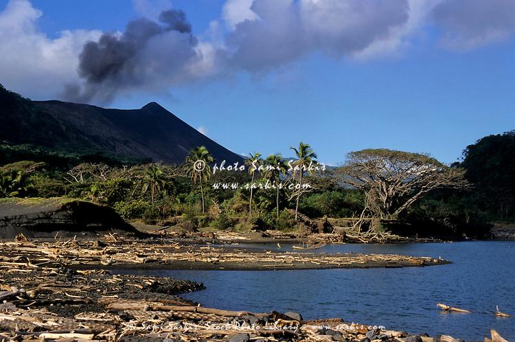 Hot springs lake and Yasur Volcano at Sulphur Bay Village, Ipekel Ipeukel, Tanna Island, Vanuatu.