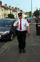 2016 06 08 Traffic warden swears at motorist, Cardiff, Wales, UK