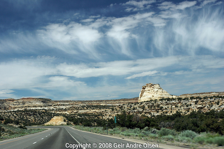 View of the desert along Interstate 70 close to Cisco at the border between Colorado and Utah, USA