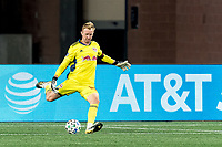 FOXBOROUGH, MA - AUGUST 29: Ryan Meara #18 of New York Red Bulls takes a goal kick during a game between New York Red Bulls and New England Revolution at Gillette Stadium on August 29, 2020 in Foxborough, Massachusetts.