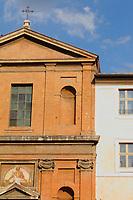 """The facade of the church of """"San Giuseppe a Capo le Case"""" next to the Modern Art Gallery, with its beautiful ancient fresco (Rome, 2020).<br /> <br /> La facciata della chiesa di """"San Giuseppe a Capo le Case"""", accanto alla Galleria di Arte Moderna, con il suo bell'affresco antico (Roma, 2020)."""