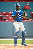 Carlos Delgado of the Dunedin Blue Jays during the 1992 season at Chain of Lakes Park in Winter Haven, Florida.  (MJA/Four Seam Images)
