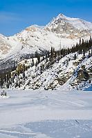 Pressure ridges of ice on the mathews river, the wiehl mountains of the Brooks Range, Arctic, Alaska.