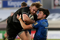 15 January 2021; Callum Reid is tackled by Max O'Reilly during the A Interprovincial match between Ulster and Leinster at Kingspan Stadium in Belfast. Photo by John Dickson/Dicksondigital