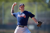 Atlanta Braves pitcher Dalton Geekie (52) during a minor league Spring Training game against the Pittsburgh Pirates on March 13, 2018 at Pirate City in Bradenton, Florida.  (Mike Janes/Four Seam Images)