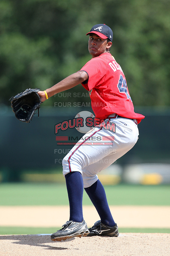 October 6, 2009:  Pitcher Randall Delgado of the Atlanta Braves organization delivers a pitch during an Instructional League game at Disney's Wide World of Sports in Orlando, FL.  Photo by:  Mike Janes/Four Seam Images