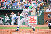 Southern Divisions first baseman Chad Spanberger (24) of the Asheville Tourists swings at a pitch during the South Atlantic League All Star Game at First National Bank Field on June 19, 2018 in Greensboro, North Carolina. The game Southern Division defeated the Northern Division 9-5. (Tony Farlow/Four Seam Images)