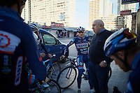 DS Hilaire Van der Schueren (BEL/Wanty-Groupe Gobert) talking to his troups pre-ride<br /> <br /> <br /> Pro Cycling Team Wanty-Groupe Gobert <br /> <br /> Pre-season Training Camp january 2016