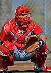 24 February 2012: Washington Nationals' catcher Wilson Ramos warms up at the Carl Barger Baseball Complex in Viera, Florida. Mandatory Credit: Ed Wolfstein Photo
