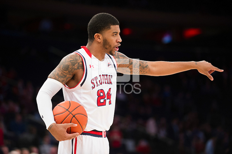 NEW YORK, NY - Sunday December 21, 2015: The St. John's Red Storm lose a close one to the Seton Hall Pirates 62-61 at home at Madison Square Garden in NCAA regular season play.