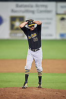 West Virginia Black Bears relief pitcher Nicholas Economos (66) gets ready to deliver a pitch during a game against the Batavia Muckdogs on August 7, 2017 at Dwyer Stadium in Batavia, New York.  West Virginia defeated Batavia 6-3.  (Mike Janes/Four Seam Images)