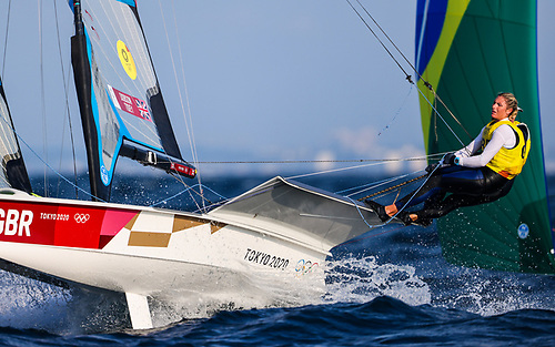 Dun Laoghaire's Saskia Tidey and Scotland's Charlotte Dobson are leading the Tokyo Olympic regatta in the 49erFX class
