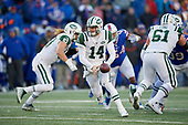New York Jets quarterback Sam Darnold (14) looks to hand off during an NFL football game against the Buffalo Bills, Sunday, December 9, 2018, in Orchard Park, N.Y.  (Mike Janes Photography)