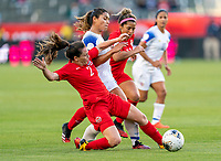 CARSON, CA - FEBRUARY 07: Allysha Chapman #2 of Canada fouls Raquel Rodriguez #11 of Costa Rica during a game between Canada and Costa Rica at Dignity Health Sports Park on February 07, 2020 in Carson, California.