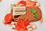 """The """"Strawberry Tiramisu with Kit Kat"""" for the 45th anniversary displayed at the Kit Kat Chocolatory Ginza in Tokyo, Japan on November 14, 2018. (Photo by AFLO)"""