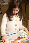 Education elementary grade 2 art activity girl painting