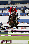 Equestrian - Showjumping - Meydan FEI Nations Cup.Rich Fellers (USA) aboard Flexible in action during the Meydan FEI Nations Cup at the Royal Dublin Society (RDS) in Dublin.