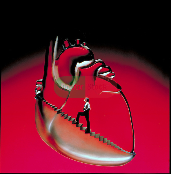 photo-illustration of man running up stairs, stress to heart, exercise for cardiovascular fitness
