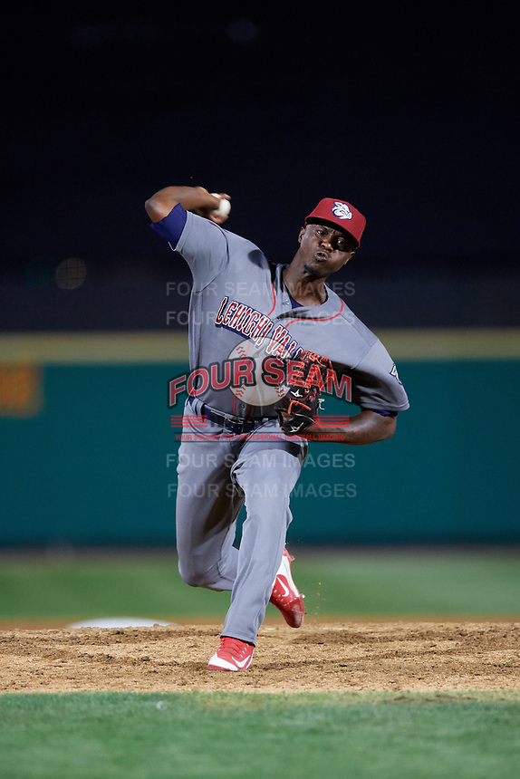 Lehigh Valley IronPigs relief pitcher Edgar Garcia (37) delivers a pitch during a game against the Rochester Red Wings on September 1, 2018 at Frontier Field in Rochester, New York.  Lehigh Valley defeated Rochester 2-1.  (Mike Janes/Four Seam Images)