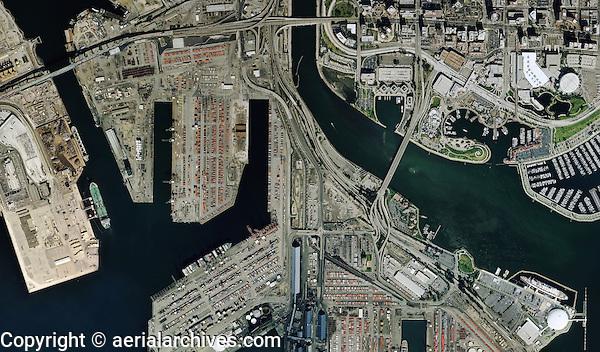 aerial map view Port of Long Beach California