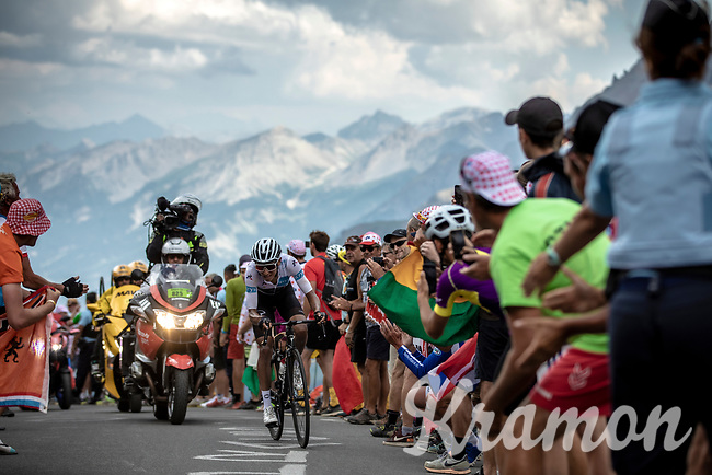 White Jersey Egan Bernal (COL/Ineos) up the Col du Galibier (HC/2622m/23km@5.1%)<br /> <br /> Stage 18: Embrun to Valloire (208km)<br /> 106th Tour de France 2019 (2.UWT)<br /> <br /> ©kramon