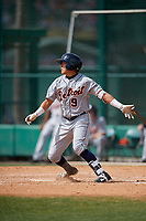Detroit Tigers Keyder Aristigueta (9) bats during a minor league Spring Training game against the Atlanta Braves on March 25, 2017 at the ESPN Wide World of Sports Complex in Orlando, Florida.  (Mike Janes/Four Seam Images)