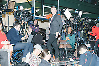 Media watch results come in and await the arrival of Democratic presidential candidate and former South Bend, Ind., mayor Pete Buttigieg at his Primary Night rally at Nashua Community College in Nashua, New Hampshire, on Tue., Feb. 11, 2020. Democratic presidential candidate and Vermont senator Bernie Sanders was projected to win the New Hampshire Democratic Primary, but Buttigieg came in a close second.