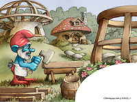 The second new illustration, showing a younger Papa Smurf building Smurf Village.