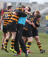 CAI vs RBAI | Tuesday 3rd March 2015<br /> <br /> RBAI celebrate at the final whistle during the 2015 Ulster Schools Cup Semi-Final between Coleraine Inst and RBAI at the Kingspan Stadium, Ravenhill Park, Belfast, Northern Ireland.<br /> <br /> Picture credit: John Dickson / DICKSONDIGITAL
