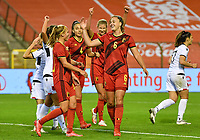 Tine De Caigny (6) of Belgium and Janice Cayman (11) of Belgium pictured celebrating during a female soccer game between the national teams of Belgium , called the Red Flames and Albania in the second game in the qualification for the  FIFA Women's World Cup in group F , on tuesday 21 st of September 2021  in Brussels , Belgium . PHOTO SPORTPIX