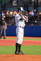 Hudson Valley Renegades starting pitcher Hunter Wood (5) looks to his catcher for the sign against the Brooklyn Cyclones at Dutchess Stadium on June 18, 2014 in Wappingers Falls, New York.  The Cyclones defeated the Renegades 4-3 in 10 innings.  (Brian Westerholt/Four Seam Images)