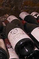 Bottles aging in the cellar. Cuvee de la Cure 2002. Domaine Charles Joguet, Clos de la Dioterie, Chinon, Loire, France