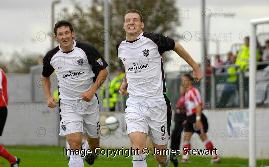 21/10/2006       Copyright Pic: James Stewart.File Name :sct_jspa02_gretna_v_clyde.KENY DEUCHAR CELEBRATES SCORING GRTENA'S FIRST.Payments to :.James Stewart Photo Agency 19 Carronlea Drive, Falkirk. FK2 8DN      Vat Reg No. 607 6932 25.Office     : +44 (0)1324 570906     .Mobile   : +44 (0)7721 416997.Fax         : +44 (0)1324 570906.E-mail  :  jim@jspa.co.uk.If you require further information then contact Jim Stewart on any of the numbers above.........