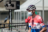 Mathieu Van der Poel (NED/Alpecin-Fenix) interviewed at the race start<br /> <br /> 76th Dwars door Vlaanderen 2021 (MEN1.UWT)<br /> 1 day race from Roeselare to Waregem (184km)<br /> <br /> ©kramon