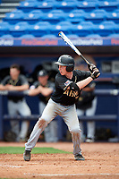 Army West Point catcher Jon Rosoff (7) at bat during a game against the Michigan Wolverines on February 18, 2018 at First Data Field in St. Lucie, Florida.  Michigan defeated Army 7-3.  (Mike Janes/Four Seam Images)