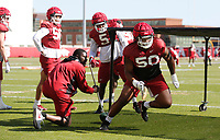 Eric Gregory (50) participates in an agility drill during the University of Arkansas Razorback Spring football practice Thursday, April 1, 2021, at the University practice field on the campus in Fayetteville. Check out nwaonline.com/210402Daily/ and nwadg.com/photos for a photo gallery.<br /> (NWA Democrat-Gazette/David Gottschalk)
