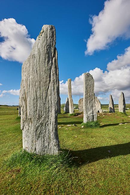 Monolithic stone of Calanais Neolithic Standing Stone (Tursachan Chalanais) , Isle of Lewis, Outer Hebrides, Scotland.