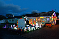 A house with Christmas decorations in Kilgetty, Pembrokeshire, UK