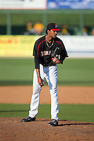 Kannapolis Intimidators starting pitcher Luis Martinez (35) looks to his catcher for the sign against the West Virginia Power at CMC-Northeast Stadium on April 21, 2015 in Kannapolis, North Carolina.  The Power defeated the Intimidators 5-3 in game one of a double-header.  (Brian Westerholt/Four Seam Images)