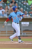 Tennessee Smokies catcher Kyle Schwarber (12) swings at a pitch during a game against the Chattanooga Lookouts on April 25, 2015 in Kodak, Tennessee. The Smokies defeated the Lookouts 16-10. (Tony Farlow/Four Seam Images)