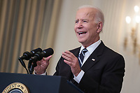 United States President Joe Biden delivers remarks on his robust plan to stop the spread of the Delta variant and boost COVID-19 vaccinations in the State Dining Room of the White House on September 9, 2021 in Washington, DC.<br /> CAP/MPI/RS<br /> ©RS/MPI/Capital Pictures