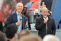 F1 commentator Jonathan Legard and the original Stig Perry McCarthy entertain guests in the Corinthian Sports hospitality boxes during the British Grand Prix final qualifying sessions at Silverstone on Saturday 15th July 2017 (Photo by Rob Munro/Stewart Communications)