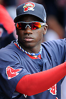 Portland Sea Dogs center fielder Rusney Castillo (18) prior to an Eastern League Semifinal Playoff game versus the Binghamton Mets at Hadlock Field in Portland, Maine on September 6, 2014.  (Ken Babbitt/Four Seam Images)