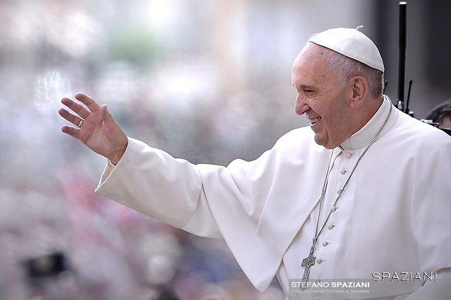 Pope Francis during his weekly general audience  in St. Peter square at the Vatican, Wednesday.May 25 2016.