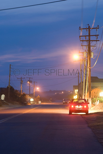 Road Scene at Dusk, Car Parked by Side of Road
