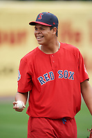 Salem Red Sox pitcher Daniel Gonzalez during practice before the first game of a doubleheader against the Potomac Nationals on May 13, 2017 at G. Richard Pfitzner Stadium in Woodbridge, Virginia.  Potomac defeated Salem 6-0.  (Mike Janes/Four Seam Images)