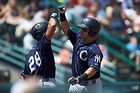 Mickey Gasper (right) of the Charleston RiverDogs is greeted by teammate Charleston RiverDogs hitting coach Ricky Surum (28) after hitting a solo home run against the Hickory Crawdads at L.P. Frans Stadium on May 13, 2019 in Hickory, North Carolina. The Crawdads defeated the RiverDogs 7-5. (Brian Westerholt/Four Seam Images)