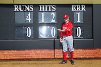 Radford Highlanders starting pitcher Danny Hrbek (7) poses for a photo after throwing a no-hitter against the Quinnipiac Bobcats at David F. Couch Ballpark on March 4, 2017 in Winston-Salem, North Carolina.  The Highlanders defeated the Bobcats 4-0.  (Brian Westerholt/Four Seam Images)